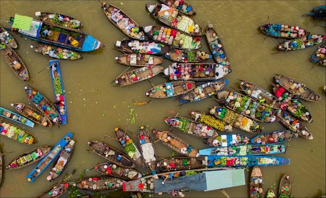 Chợ nổi là 1 nét đặc trưng của Miền Tây Nam Bộ