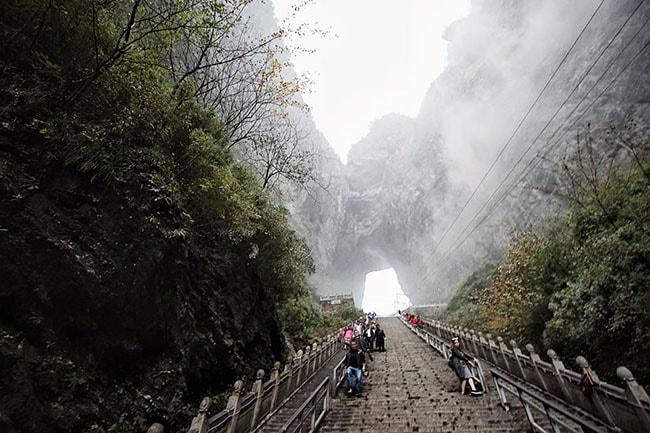 Bậc thang lên Thiên Môn Sơn
