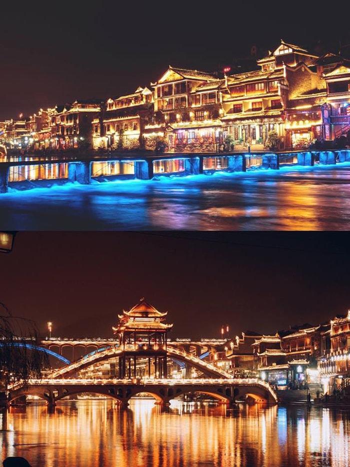 Phượng Hoàng cổ trấn về đêm đẹp lung linh