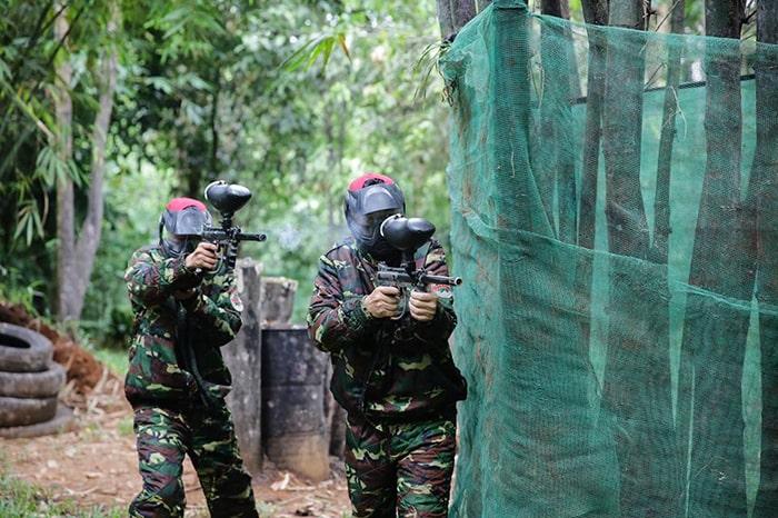 Bắn súng sơn là trò chơi rất thú vị bên trong khu du lịch Madagui