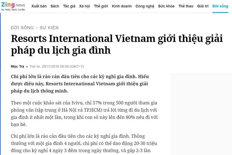 Resorts International Vietnam trên báo Zing news